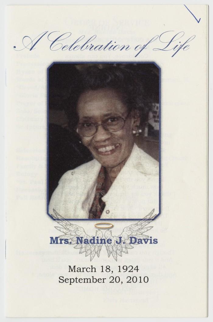 funeral program for nadine j davis september 25 2010 the