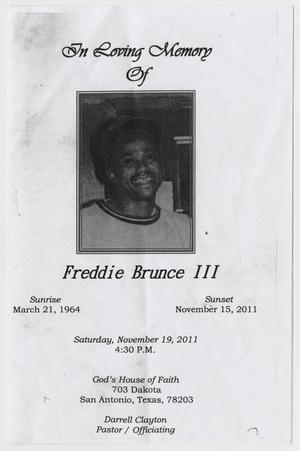 Primary view of object titled '[Funeral Program for Freddie Brunce, III, November 19, 2011]'.