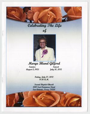 Primary view of object titled '[Funeral Program for Marye Bland Gilford, July 27, 2012]'.