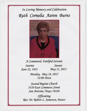 Primary view of object titled '[Funeral Program for Ruth Cornelia Aaron Burns, May 18, 2015]'.