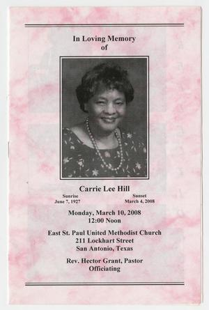 Primary view of object titled '[Funeral Program for Carrie Lee Hill, March 10, 2008]'.