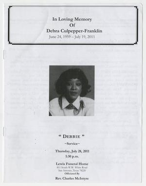 [Funeral Program for Debra Culpepper-Franklin, July 28, 2011]