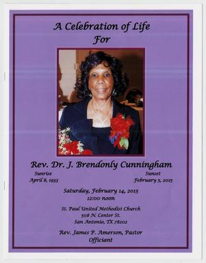 Primary view of object titled '[Funeral Program for J. Brendonly Cunningham, February 14, 2015]'.