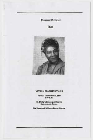 Primary view of object titled '[Funeral Program for Vivian Mamie Byars, December 12, 1980]'.