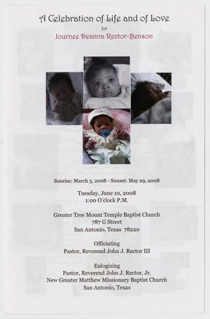 [Funeral Program for Journee Deanna Rector-Benson, June 10, 2008]