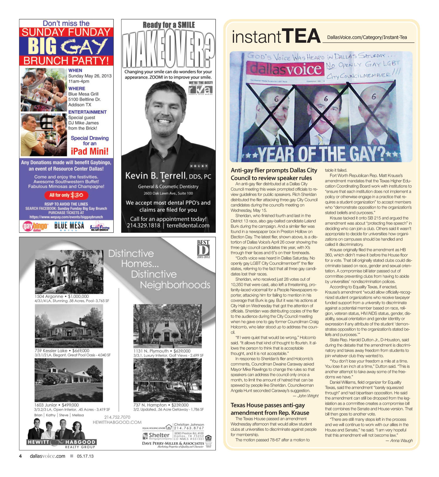 Dallas Voice (Dallas, Tex.), Vol. 30, No. 1, Ed. 1 Friday, May 17, 2013                                                                                                      [Sequence #]: 4 of 32