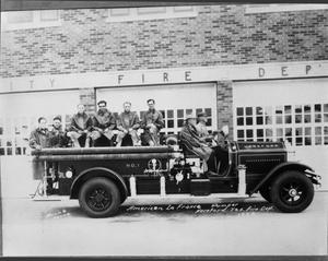 Primary view of object titled '[Early Firefighters in 1928]'.