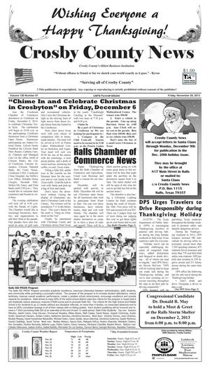 Primary view of object titled 'Crosby County News (Ralls, Tex.), Vol. 126, No. 47, Ed. 1 Friday, November 29, 2013'.