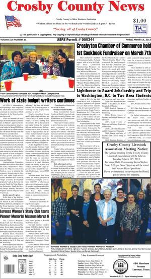 Crosby County News (Ralls, Tex.), Vol. 126, No. 11, Ed. 1 Friday, March 15, 2013