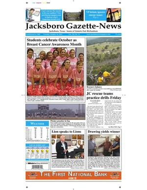 Primary view of object titled 'Jacksboro Gazette-News (Jacksboro, Tex.), Vol. 133, No. 19, Ed. 1 Tuesday, October 16, 2012'.