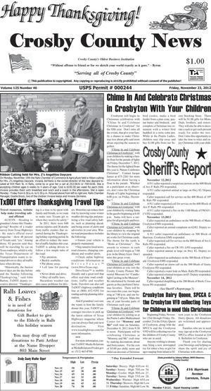 Crosby County News (Ralls, Tex.), Vol. 125, No. 46, Ed. 1 Friday, November 23, 2012