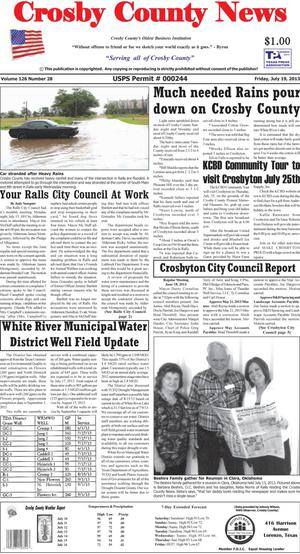 Primary view of object titled 'Crosby County News (Ralls, Tex.), Vol. 126, No. 28, Ed. 1 Friday, July 19, 2013'.