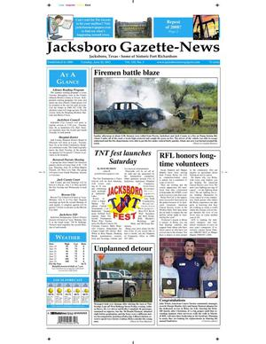 Primary view of object titled 'Jacksboro Gazette-News (Jacksboro, Tex.), Vol. 133, No. 3, Ed. 1 Tuesday, June 26, 2012'.