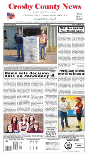 Primary view of object titled 'Crosby County News (Ralls, Tex.), Vol. 126, No. 39, Ed. 1 Friday, October 4, 2013'.
