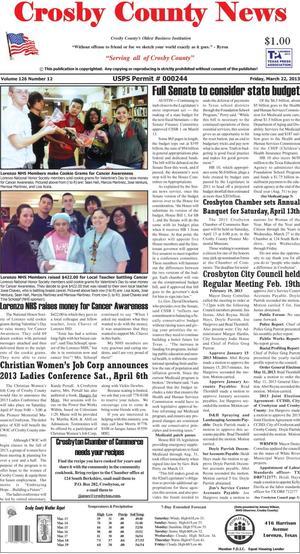 Crosby County News (Ralls, Tex.), Vol. 126, No. 12, Ed. 1 Friday, March 22, 2013