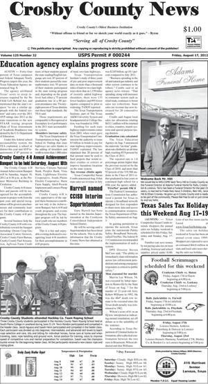 Crosby County News (Ralls, Tex.), Vol. 125, No. 32, Ed. 1 Friday, August 17, 2012