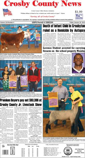 Crosby County News (Ralls, Tex.), Vol. 126, No. 4, Ed. 1 Friday, January 25, 2013
