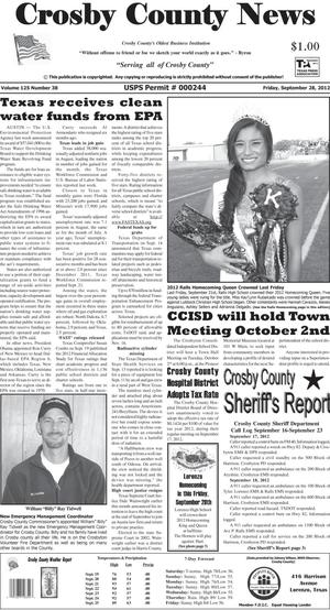 Primary view of object titled 'Crosby County News (Ralls, Tex.), Vol. 125, No. 38, Ed. 1 Friday, September 28, 2012'.