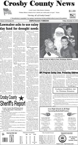 Primary view of object titled 'Crosby County News (Ralls, Tex.), Vol. 125, No. 49, Ed. 1 Friday, December 14, 2012'.