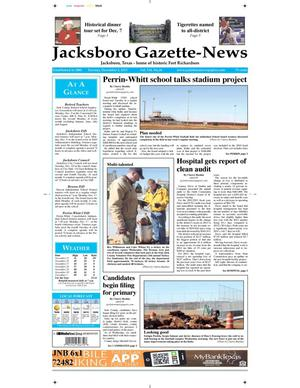 Primary view of object titled 'Jacksboro Gazette-News (Jacksboro, Tex.), Vol. 134, No. 26, Ed. 1 Tuesday, December 3, 2013'.