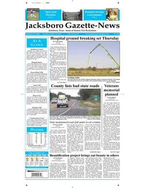 Primary view of object titled 'Jacksboro Gazette-News (Jacksboro, Tex.), Vol. 134, No. 20, Ed. 1 Tuesday, October 22, 2013'.