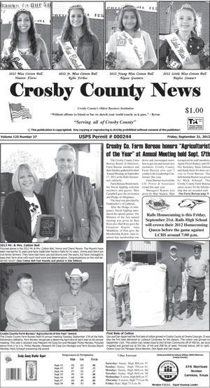 Primary view of object titled 'Crosby County News (Ralls, Tex.), Vol. 125, No. 37, Ed. 1 Friday, September 21, 2012'.