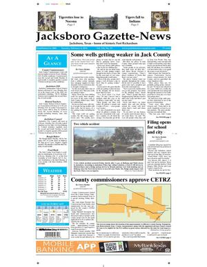 Primary view of object titled 'Jacksboro Gazette-News (Jacksboro, Tex.), Vol. 134, No. 35, Ed. 1 Tuesday, February 4, 2014'.