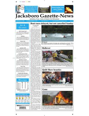 Primary view of object titled 'Jacksboro Gazette-News (Jacksboro, Tex.), Vol. 133, No. 17, Ed. 1 Tuesday, October 2, 2012'.