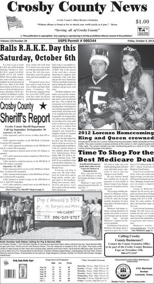 Primary view of object titled 'Crosby County News (Ralls, Tex.), Vol. 125, No. 39, Ed. 1 Friday, October 5, 2012'.