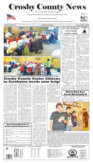 Primary view of object titled 'Crosby County News (Ralls, Tex.), Vol. 127, No. 1, Ed. 1 Friday, January 3, 2014'.