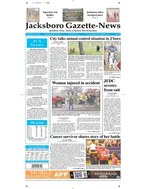 Primary view of object titled 'Jacksboro Gazette-News (Jacksboro, Tex.), Vol. 134, No. 41, Ed. 1 Tuesday, April 1, 2014'.