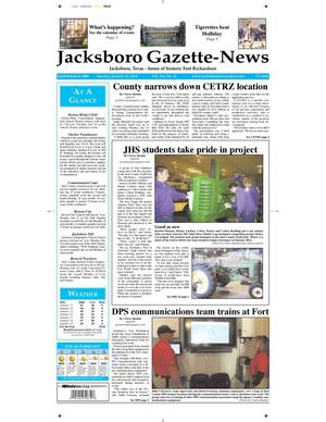 Primary view of object titled 'Jacksboro Gazette-News (Jacksboro, Tex.), Vol. 134, No. 33, Ed. 1 Tuesday, January 21, 2014'.