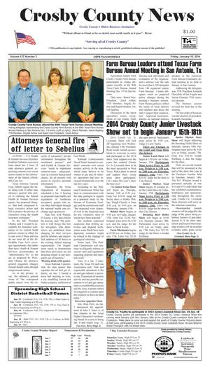 Primary view of object titled 'Crosby County News (Ralls, Tex.), Vol. 127, No. 2, Ed. 1 Friday, January 10, 2014'.