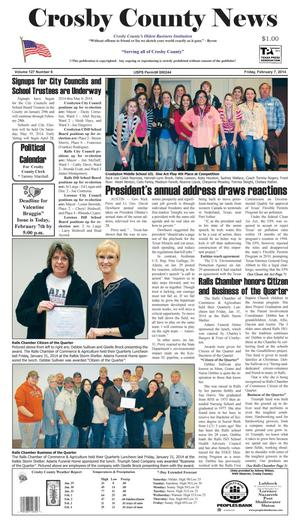 Primary view of object titled 'Crosby County News (Ralls, Tex.), Vol. 127, No. 6, Ed. 1 Friday, February 7, 2014'.