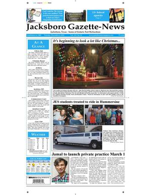 Primary view of object titled 'Jacksboro Gazette-News (Jacksboro, Tex.), Vol. 133, No. 26, Ed. 1 Tuesday, December 4, 2012'.