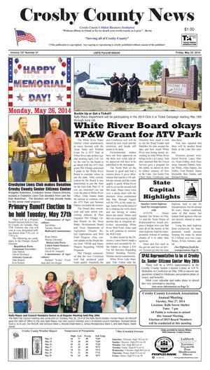 Primary view of object titled 'Crosby County News (Ralls, Tex.), Vol. 127, No. 21, Ed. 1 Friday, May 23, 2014'.