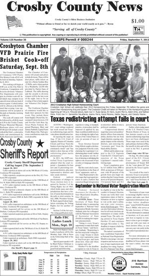 Primary view of object titled 'Crosby County News (Ralls, Tex.), Vol. 125, No. 35, Ed. 1 Friday, September 7, 2012'.