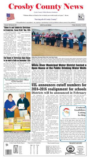 Primary view of object titled 'Crosby County News (Ralls, Tex.), Vol. 126, No. 49, Ed. 1 Friday, December 13, 2013'.
