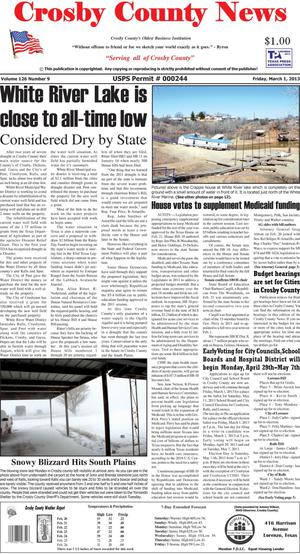 Primary view of object titled 'Crosby County News (Ralls, Tex.), Vol. 126, No. 9, Ed. 1 Friday, March 1, 2013'.