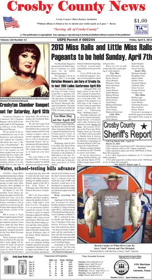 Primary view of object titled 'Crosby County News (Ralls, Tex.), Vol. 126, No. 14, Ed. 1 Friday, April 5, 2013'.