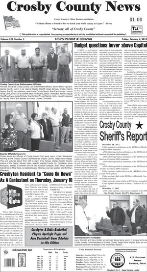 Primary view of object titled 'Crosby County News (Ralls, Tex.), Vol. 126, No. 1, Ed. 1 Friday, January 4, 2013'.