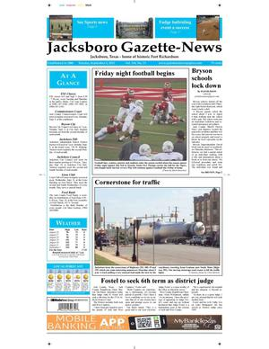 Primary view of object titled 'Jacksboro Gazette-News (Jacksboro, Tex.), Vol. 134, No. 13, Ed. 1 Tuesday, September 3, 2013'.