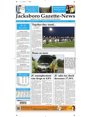 Primary view of object titled 'Jacksboro Gazette-News (Jacksboro, Tex.), Vol. 133, No. 18, Ed. 1 Tuesday, October 9, 2012'.