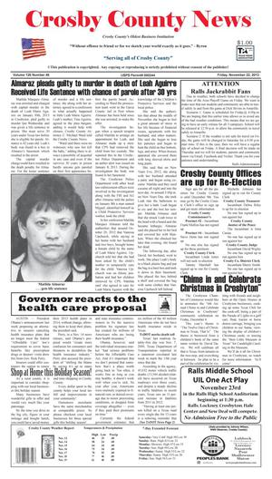 Primary view of object titled 'Crosby County News (Ralls, Tex.), Vol. 126, No. 46, Ed. 1 Friday, November 22, 2013'.