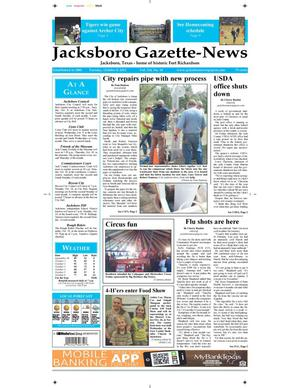 Primary view of object titled 'Jacksboro Gazette-News (Jacksboro, Tex.), Vol. 134, No. 18, Ed. 1 Tuesday, October 8, 2013'.