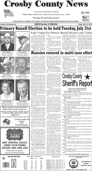 Primary view of object titled 'Crosby County News (Ralls, Tex.), Vol. 125, No. 29, Ed. 1 Friday, July 27, 2012'.