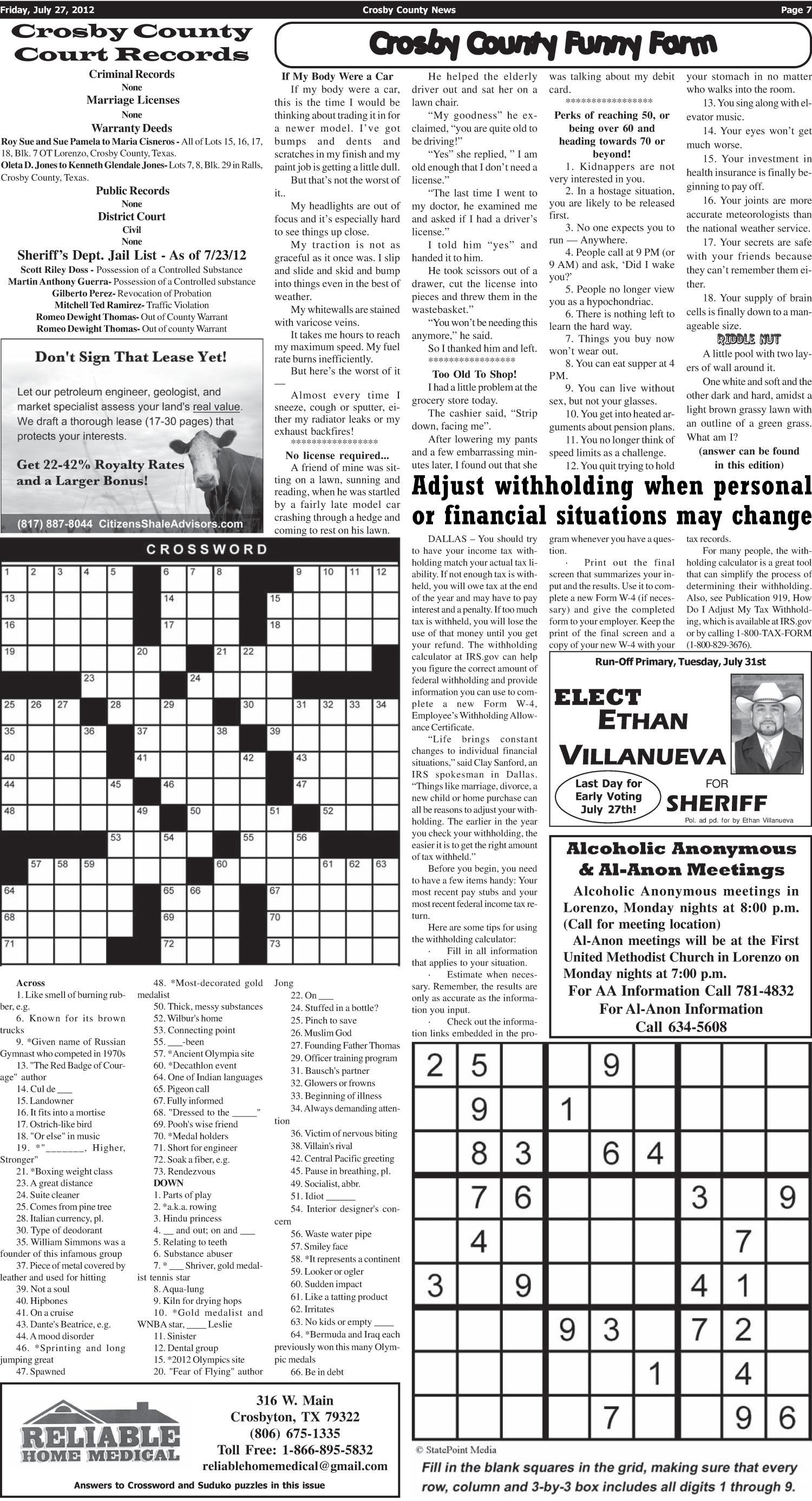 Crosby County News Ralls Tex Vol 125 No 29 Ed 1 Friday
