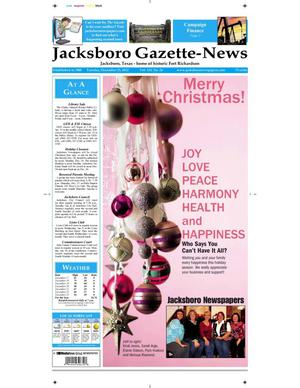Primary view of object titled 'Jacksboro Gazette-News (Jacksboro, Tex.), Vol. 133, No. 27, Ed. 1 Tuesday, December 25, 2012'.