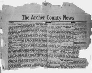 Primary view of object titled 'The Archer County News (Archer City, Tex.), Vol. 10, No. 28, Ed. 1 Thursday, October 21, 1920'.