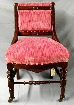 [Mauve pink armless dining chair at slight angle]